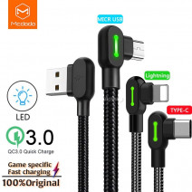 MCDODO 90 Degree Charging cable iPhone / Micro Usb / Type-C