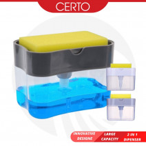 CERTO Wash Dispenser Easy Use 2in1 Multi Function Kitchen Manual Press Liquid Soap Pump Dispenser Washing Cuci Pingan Pump Bekas Sabun